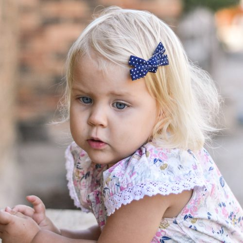Little Bow Co Navy and white spots