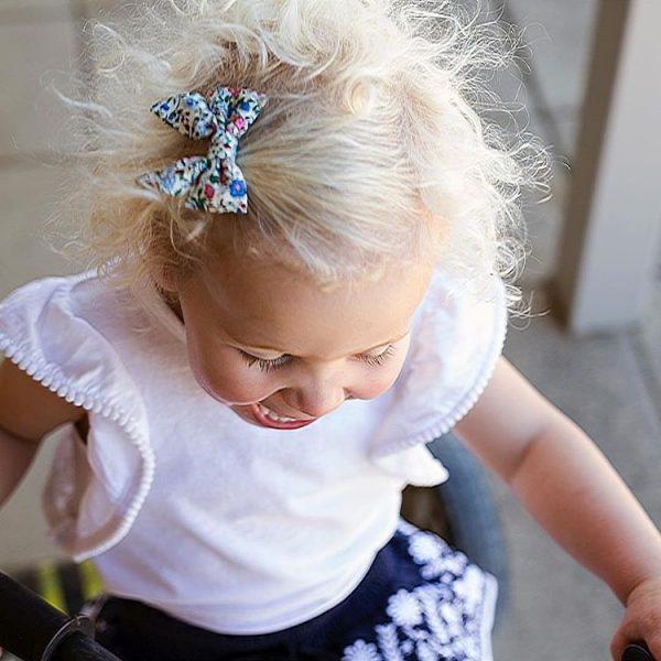 Little Bow Co Harper Blue Floral Bow Clip