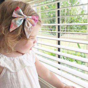 Little Bow Co Claire Watercolour Floral Bow Clip