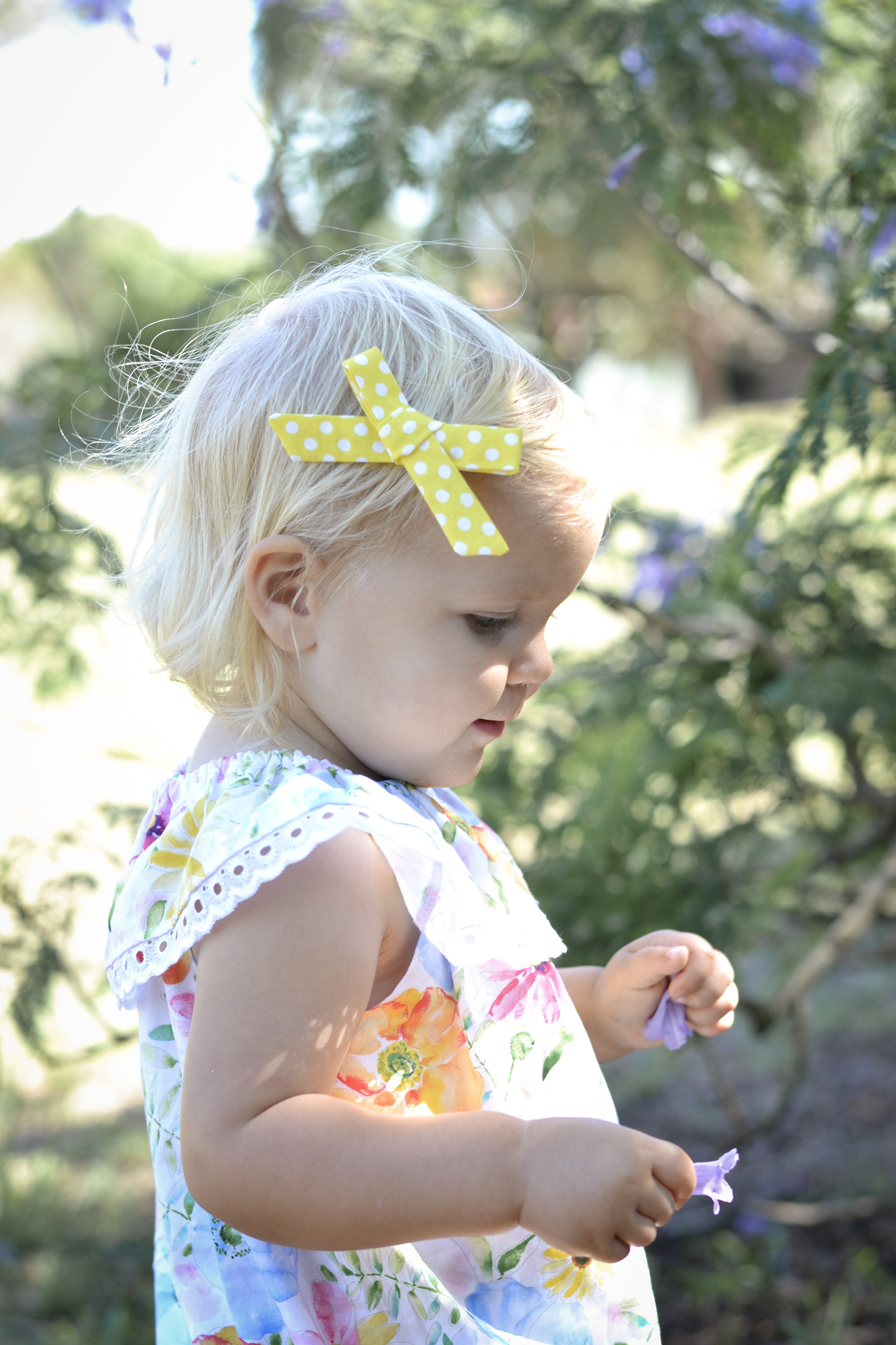 Little Bow Co Yellow Polka Dot Bow Right Side Clip
