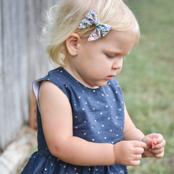 Little Bow Co Harper Blue Floral Mini Sailor Bow Right Clip