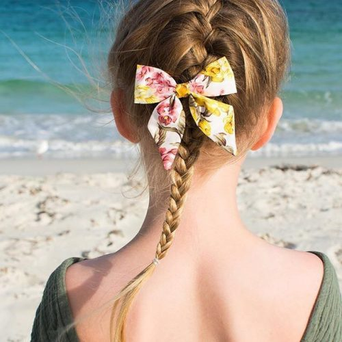 Little Bow Co Sally Sailor Bow Yellow/Pink Floral