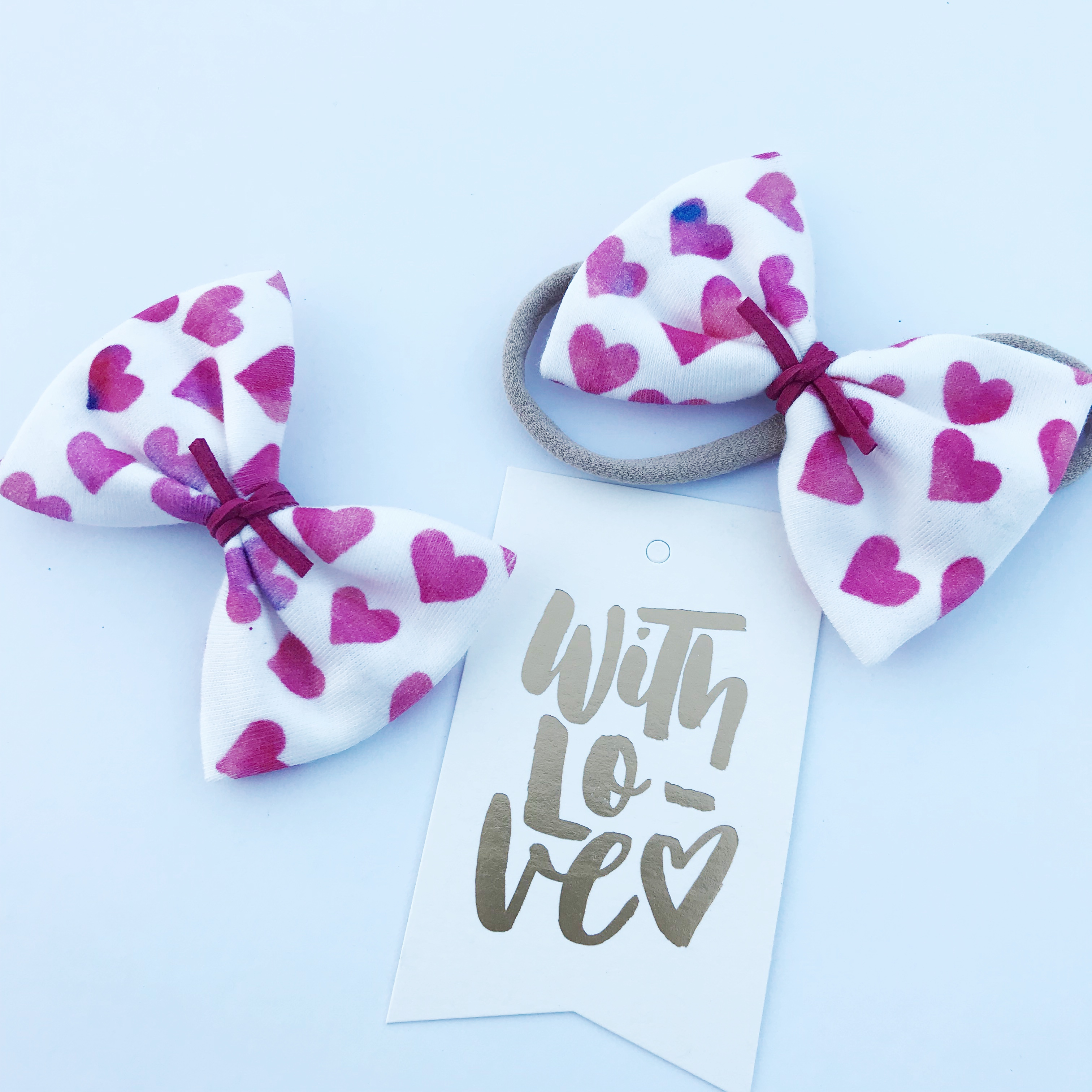 Little Bow Co Organic Cotton Watercolour Hearts Bow Clip and Headband