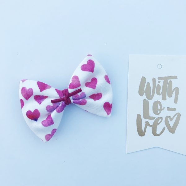 Little Bow Co Organic Cotton Watercolour Hearts Bow Clip