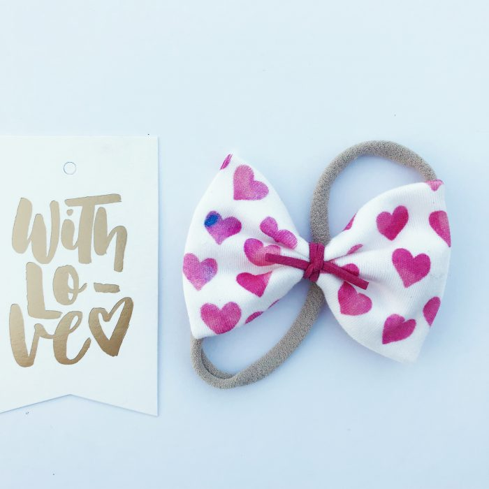 Little Bow Co Organic Cotton Watercolour Hearts Bow Headband