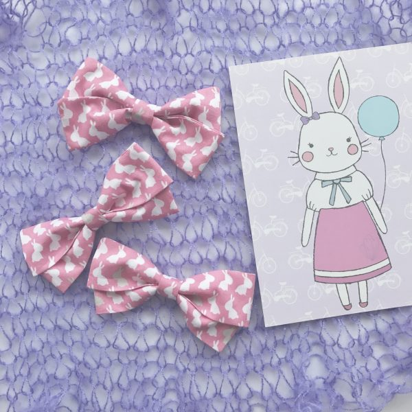 Little Bow Co Lily Bow Pink and White Rabbits