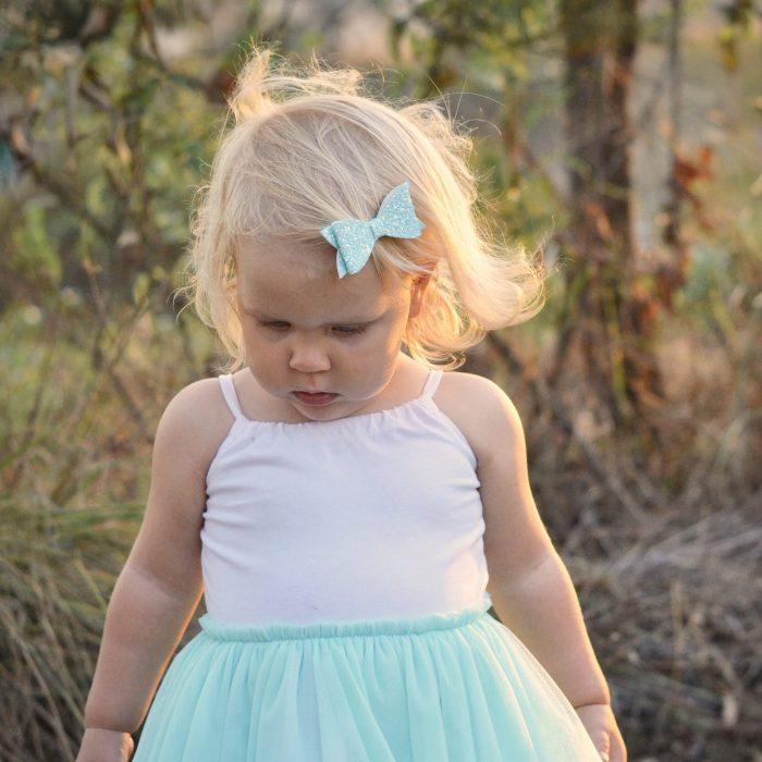 Iced Blue Glitter Molly Bow Clip