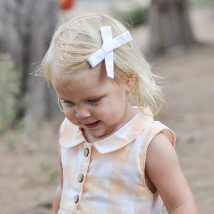 Little Bow Co White Fabric Bow Left Clip