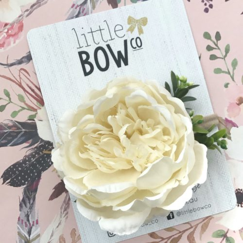 Little Bow Co Large Ivory Peony Soft Headband
