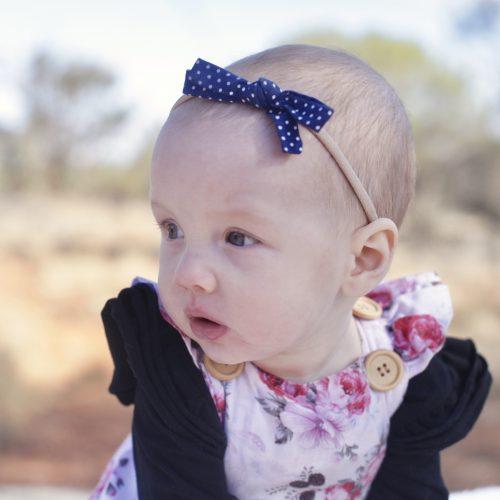 Little Bow Co Navy Polka Dot Bow Soft Nylon Headband