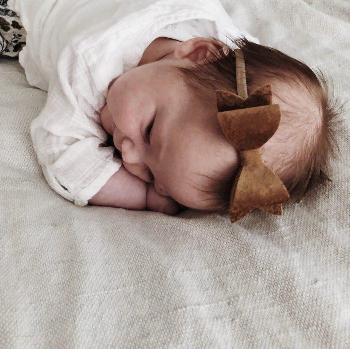Little Bow Co Tan Velvet Molly Bow Headband