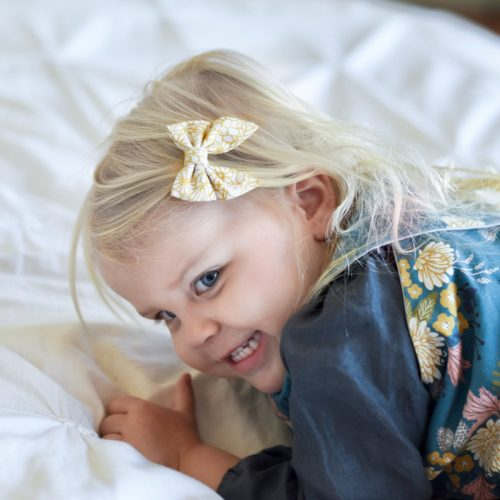 Little Bow Co Mini Sailor Bow Mustard Floral